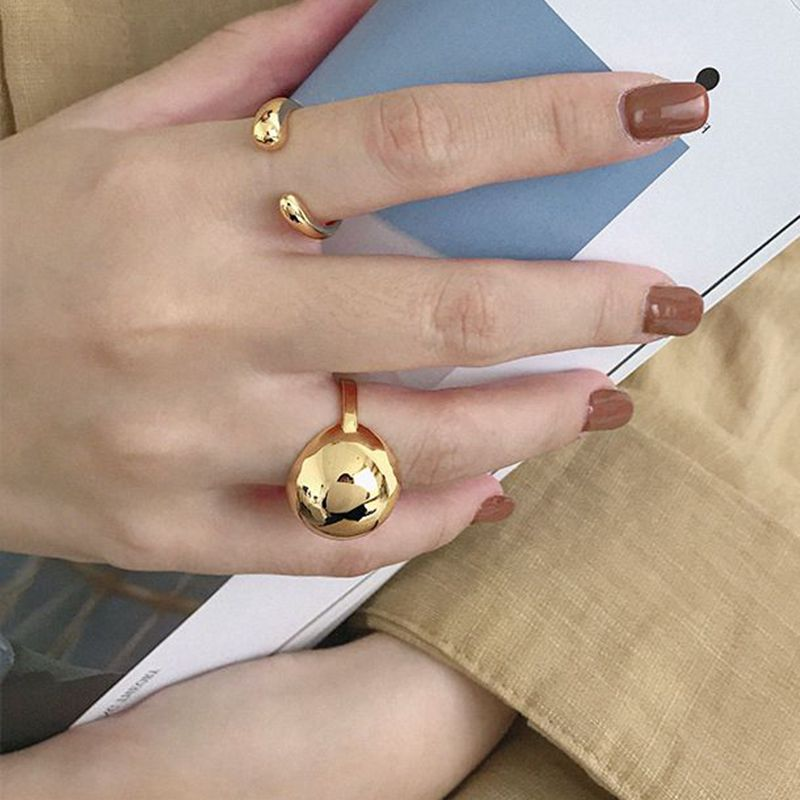 Silvology 925 Sterling Silver Big Round Ball Rings Glossy Curved Surface Minimalist Rings For Women Silver Fashionable Jewelry
