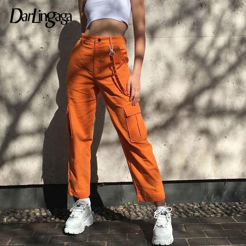 Darlingaga Casual Solid Straight Cargo Pants Women Pockets Baggy Trousers Streetwear High Waist Pants Joggers Pantalones Mujer