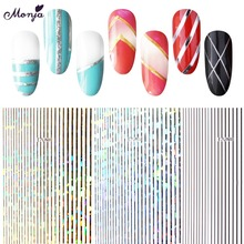 Monja 13 Styles Nail Art Metal Self adhesive Multi Line Strip Pattern Tape Stickers Multi Size 3D DIY Decals Manicure Decoration