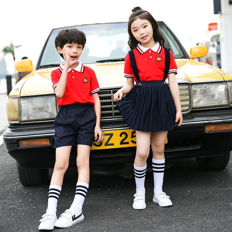 Children School Uniform Summer Wear New Style Polo Shirt Strap Dress Set Graduation Costume Kindergarten Suit Customizable
