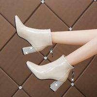 New Women Fashion Rhinestone High Heels Back Zipper Ankle Boots Ladies Casual Square Heel Crystal Black Beige Botas Mujer