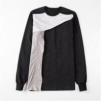2019ss Men 100% Cotton Women Full Sleeve Shirts Ro Tops Tees Owen Gothic Black High Street Patchwork Shirts Camisetas Hombre