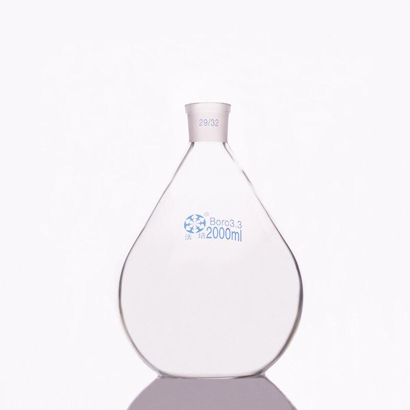 Evaporation bottle 2000ml,Flask eggplant shape,short neck standard grinding mouth 29/32,Eggplant-shaped flat bottom flask