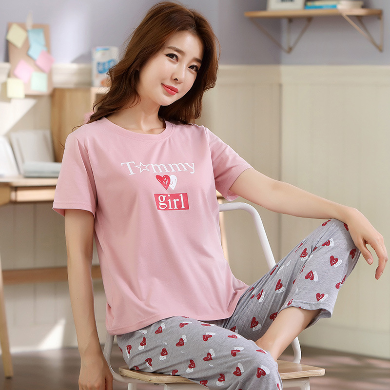 Plus-sized 5XL Fat Mm Pajamas Women's Summer Thin Section Loose-Fit Pure Cotton Heart Shape Short Sleeve Trousers Homewear Set