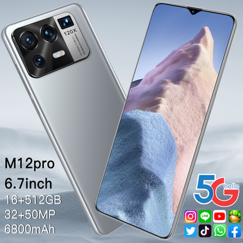 M12 Pro 5G Network 6800mAh 32+50MP MTK6889 Dual SIM HiFi Android  16GB RAM 512GB ROM GPS 6.7