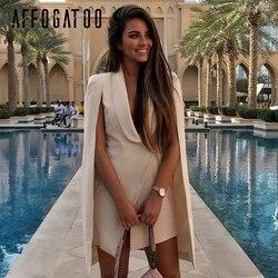 Afogatoo, элегантное женское платье с v-образным вырезом, для офиса, плащ, Блейзер, платье для женщин, Ретро стиль, шаль, без рукавов, Платья для ве...