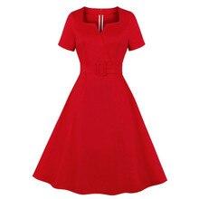 JAYCOSIN 2020 caliente verano mujeres sólido cuello pico de manga corta Día de San Valentín vestido novia una línea plisada vestido con cinturón cintura 1227