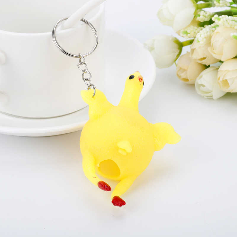 Funny Trinket Spoof Tricky Toy Chicken Egg Laying Hens Keychain Backpack  Bags Key Ring Creative Gifts