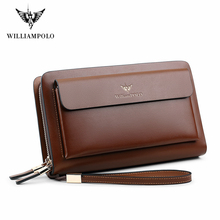 Williampolo Double Zipper Men Clutch Bag Fashion Cowhide Leather Long Purse men's Organizer Wallet Male Casual luxury Hand Bag