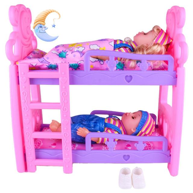DIY Girls Toys Play House Pretend Play Furniture Toy Baby Doll Accessories Simulation Bunk Bed For Dolls Shaking Trojan Juguetes 1
