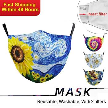 Zawaland Adult Flower Print Masks Washable Anti Bacteria Facemask Protective PM2.5 Mouth-muffle Mask with 2 Filters