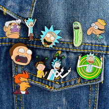 Pin de esmalte de dibujos animados clásicos Rick y Morty Filipo J. Fry hombre sirena percebe chico pin de solapa insignias botones broches Anime joyería(China)