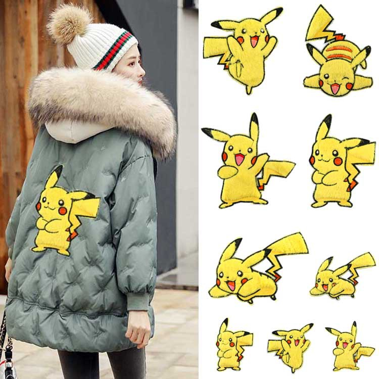 5pcs Pokemon Go Lovely Pikachu Iron On A-level Patches Heat Transfer Pyrography For DIY Clothes Bags Decoration