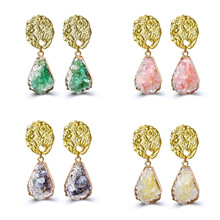Fashion Elegant Simple Crystal Stone Women's Earrings Creative Teardrop Retro Irregular Earrings Jewelry Accessories elegant faux pearl crystal teardrop necklace and earrings