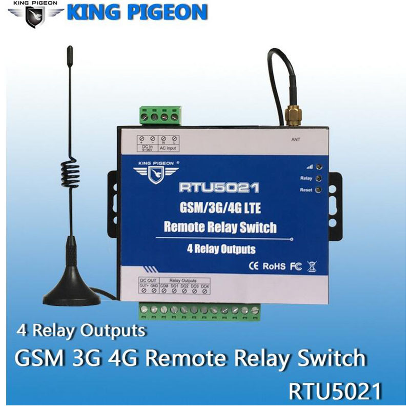 King Pigeon RTU5021 2G  3G 4G SMS Remote Controller 4 Relay Outputs Switch ON/OFF By SMS APP Timer Web IoT Gateway Alarm System