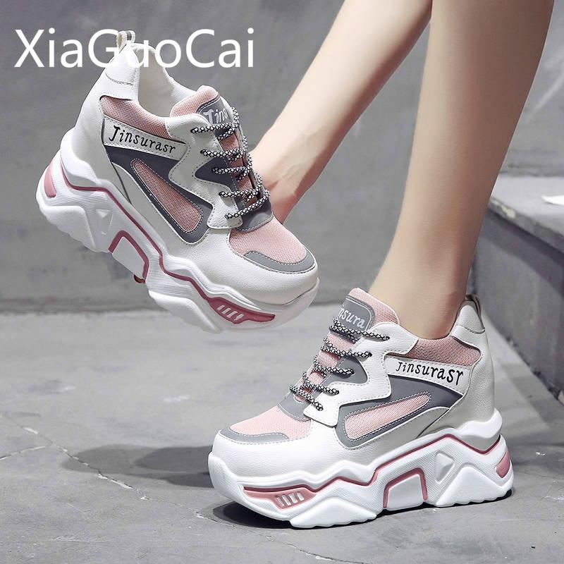 Fashion Women's Casual Flat Shoes Reflective Autumn Newest Ins Fashion Ladies Flat Platform Shoes Wedges Women Sneakers