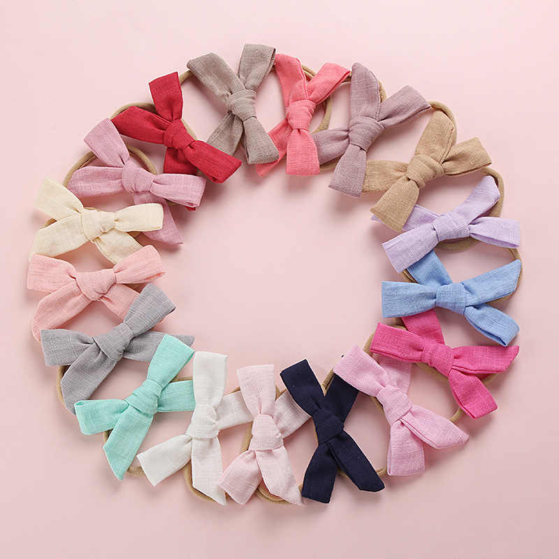 Bandas elásticas para el cabello para bebés y niños, bandas de algodón, lazo de nailon, banda de pelo de moda sólida, diadema rosa, amarillo, rojo