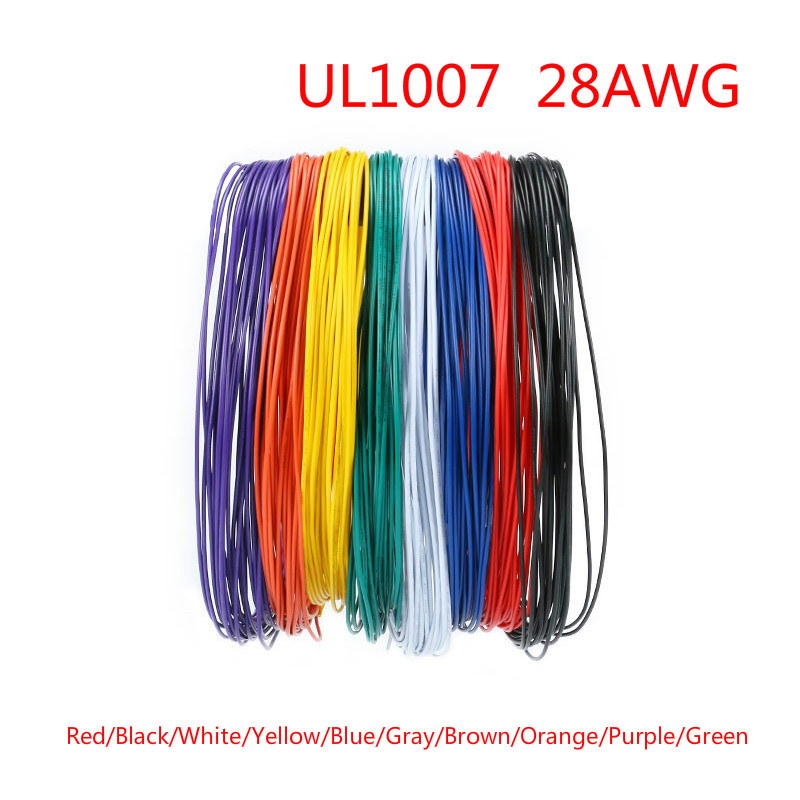 Meters//lLOT UL 1007 Wire 26AWG 1.3mm PVC Wire Electronic Cable UL Certification Insulated LED Cable for DIY Connect 8 Color | Wires /& Cables by HUDITOOLS 1 PCs