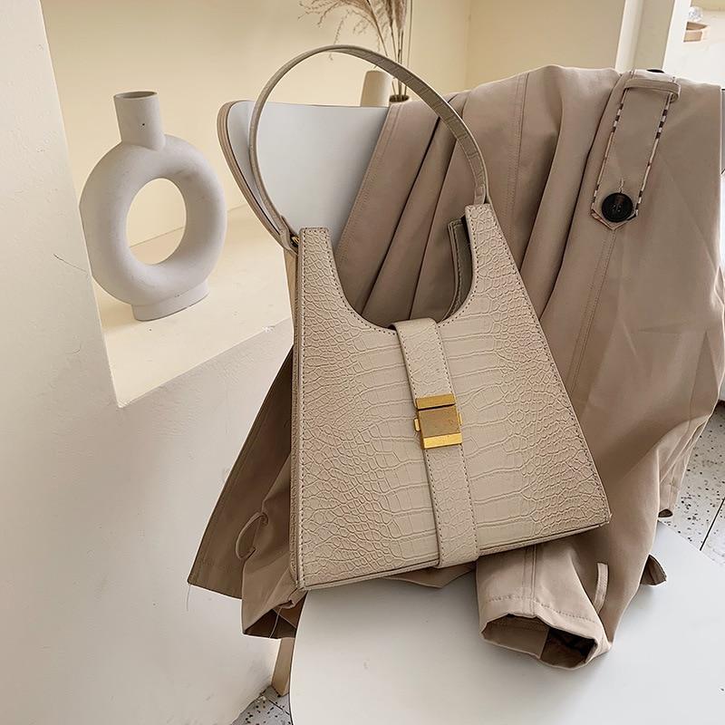 Vintage Alligator Women Shoulder Bags Designer Chic Baguette Female Handbags Luxury Crocodile Pu Leather Messenger Bag Big Purse