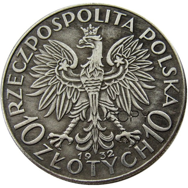 Poland 10 Zlotych 1932 Посеребренная Имитация монеты
