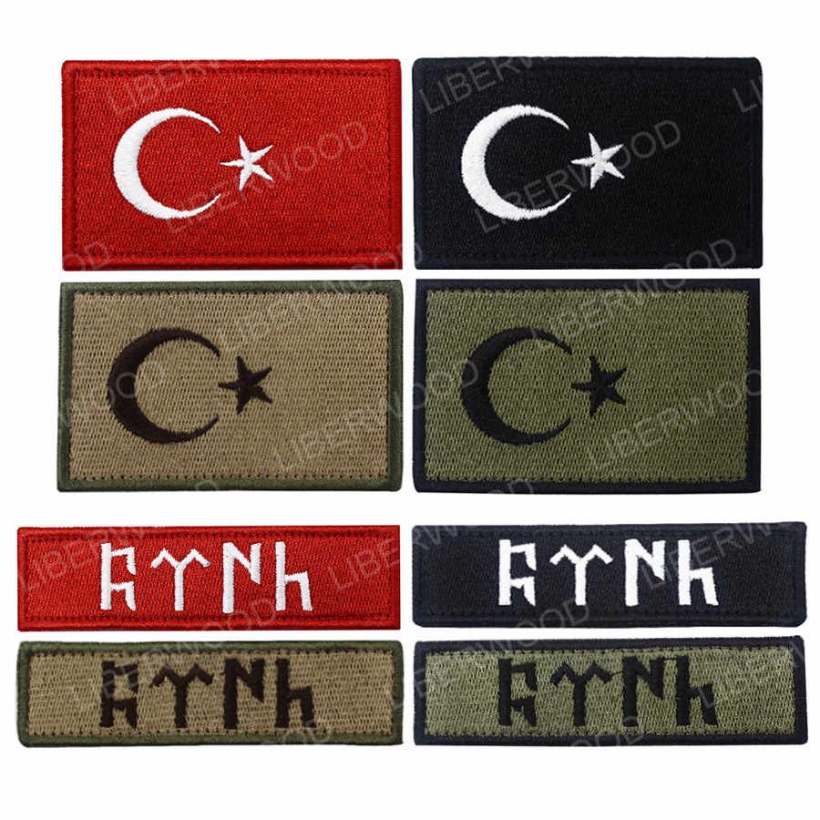 Turki Turk Bendera Patch Bordir Polisi Patch TR Turki Bahu Taktis Militer Ban Lengan Lencana Patch Bordiran