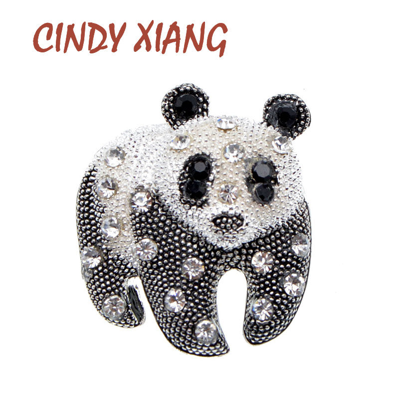 CINDY XIANG Black And White Color Panda Brooch Unisex Fashion Animal Design Brooch Rhinestone Jewelry High Quality New 2021 1