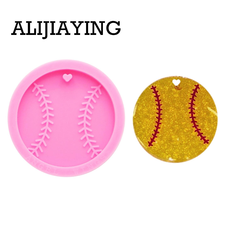 DY0194 Glitter Baseball Mold DIY Basketball Keychain Silicone Molds Craft Keyring Pendant Jewelry Keychains Epoxy Resin Mould