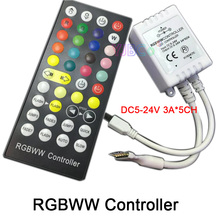 цена на DC 5V 12V 24V 5 Channels RGBWW LED Controller Dimmer 40Key 6Pins IR Remote Control For SMD 5050 3528 RGBWW LED Strip Light