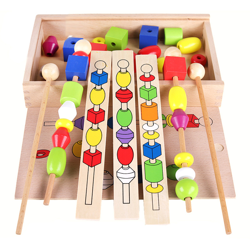 QZM Montessori Early Childhood Educational Beaded Bracelet Box Children ENLIGHTEN Fine Motion Training Wooden Stick Wear Bead To