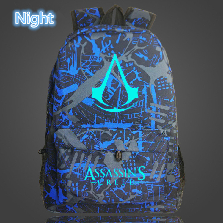 Lumious Assassins Creed Game Book Backpack School Bags for Boys Girls School for Teenagers Printing Bagpack Satche image