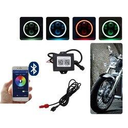 Luces cruzadas de estilo RGB Harley para motocicleta, faros circulares de 5,75 pulgadas, luces led Davidson