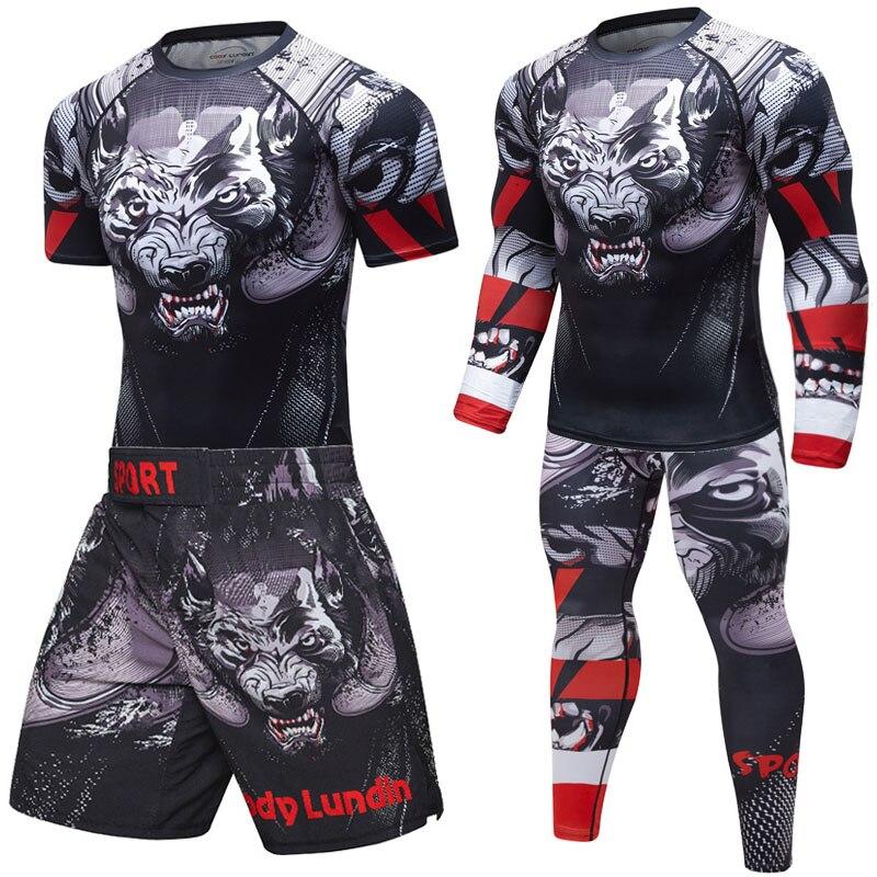 Men Sport MMA Rashguard Jiu Jitsu Jerseys+Pants Fitness T Shirt UCF BJJ Boxing Set Gym Rash Guard MMA Fightwear Sportsuit Boxeo