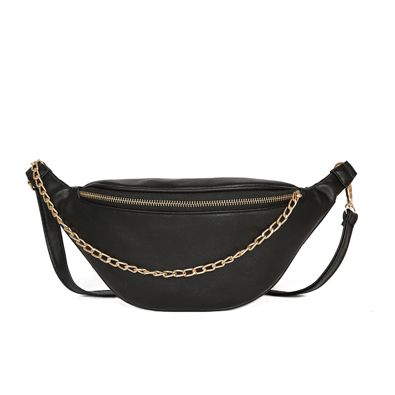 Solid Ins Fashion Disco Belt Bags Women With Chain Waist Bags Ladies Casual Pu Leather Chest Bags Pillow Travel Fanny Packs