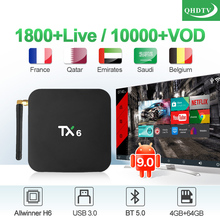 Android 9.0 IPTV France Receiver TX6 4+64G BT5.0 USB3.0 Dual-Band WIFI Italy Belgium Arabic IP TV Code Box