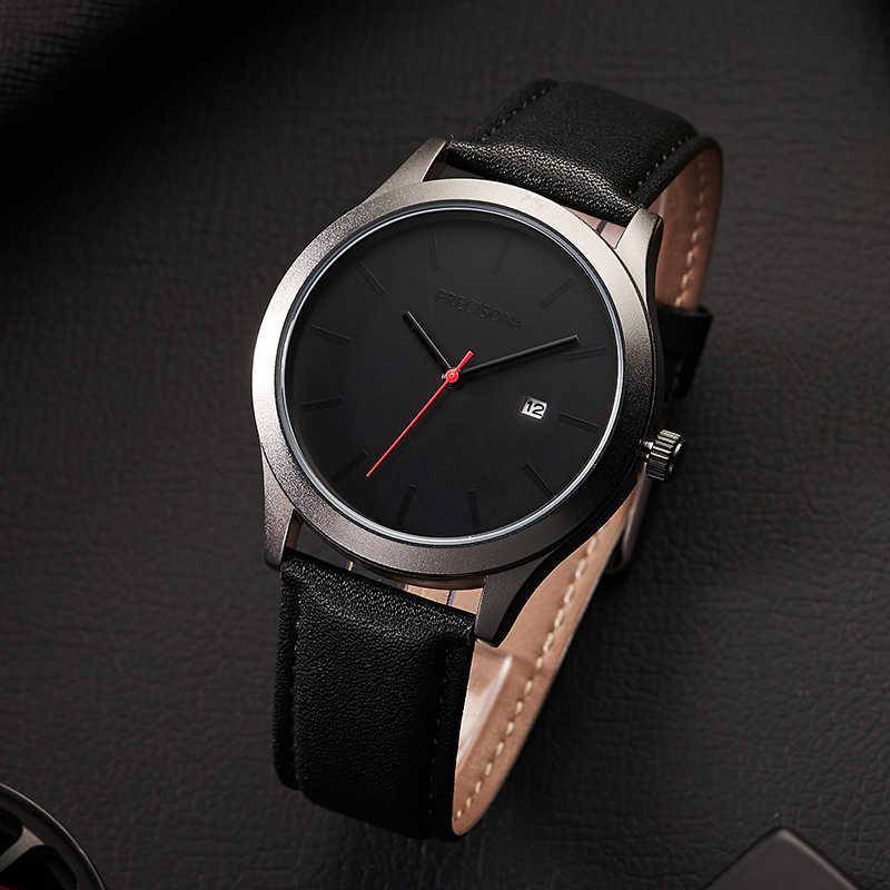 Relojes de moda para hombre reloj de cuarzo de lujo para hombre reloj deportivo impermeable de cuero de malla Delgado informal
