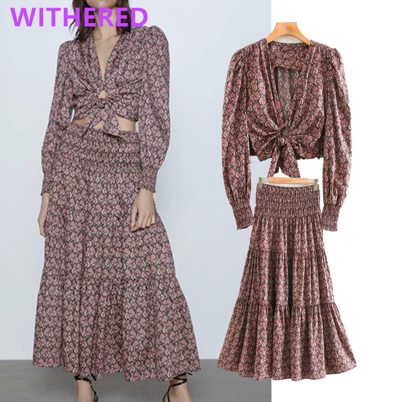 Withered Indie Folk England Floral Print Bow Elastic Short Blouse Women Blusas High Waist Long Skirt Women Faldas 2 Pieces Set