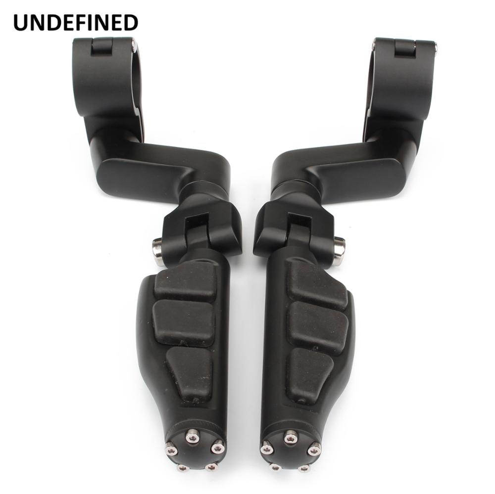 Black Motorcycle Foot Pegs Pedals For Harley Sportster Softail Fat Boy Road King