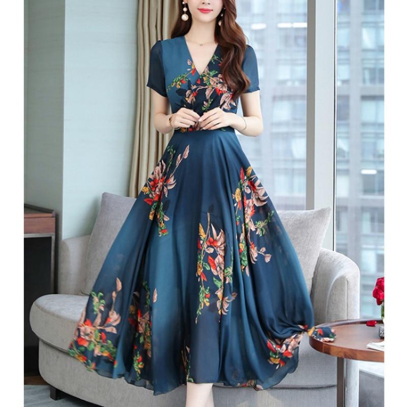 Летние платья для женщин 2020, новые модные платья с принтом, офисные женские длинные платья с коротким рукавом, элегантное платье с v образным вырезом, Vestido De Mujer|Платья|   | АлиЭкспресс