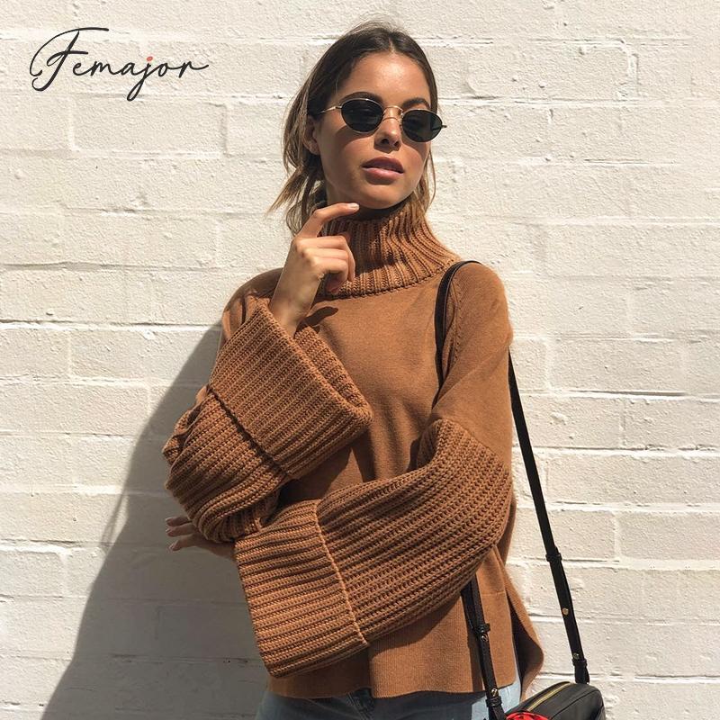 Sweater Jumper Pullover Loose-Bell-Sleeve Winter Turtleneck Brown Women Autumn Knit Female