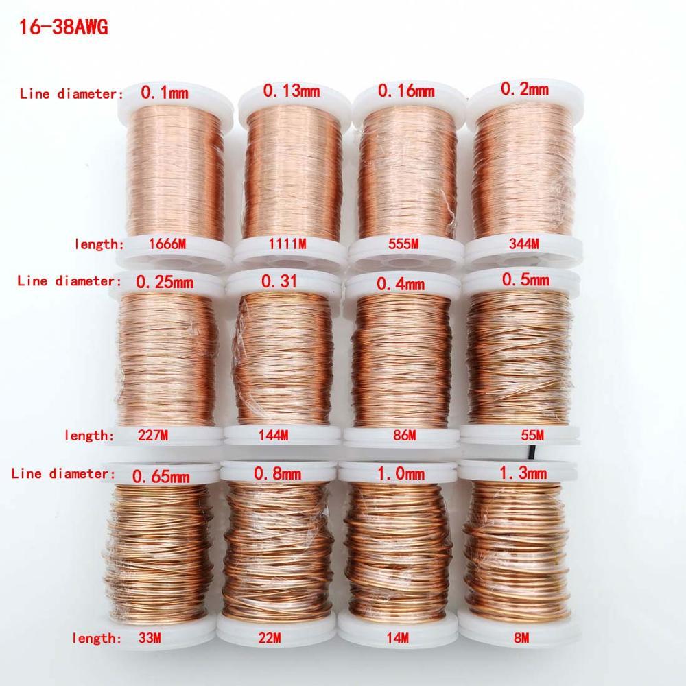Fil de cuivre électromagnétique émaillé en polyuréthane   100g/roll, 0.1 à 1.3mm, 155/2UEW pour bobine dinductance de fil de transformateur
