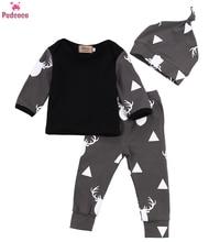 Newborn Infant 3 Pieces Clothes Set Baby Boys Print Deer Loose Tops T-shirt +Long Pants Leggings Hats Outfits Clothing Sets