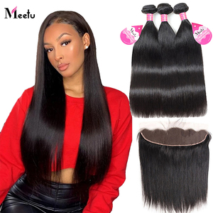Meetu Brazilian Hair Straight Human Hair 3 Bundles With Frontal Closure 13x4 Transparent Swiss Lace Frontal Closure With Bundles