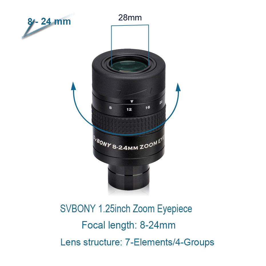 cheapest SVBONY 1 25inch Zoom Telescope Eyepiece 7-21mm 8-24mm 10-30mm Full Metal Barrel and Broadband Multicoating W9130A