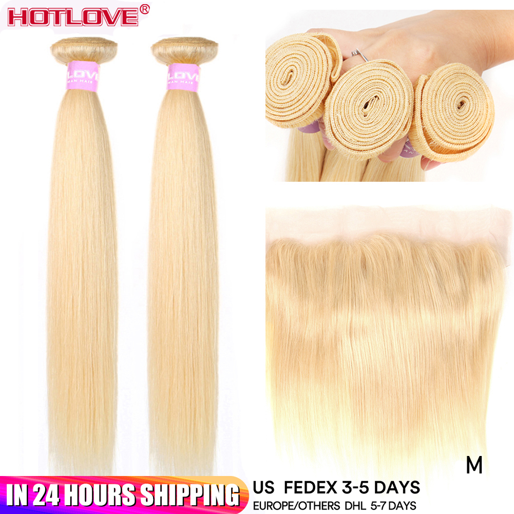 613 Blonde Straight Hair 2 Bundles with Lace Frontal Closure with Baby Hair Malaysian Honey Blonde Hair Bundle With Frontal Remy image