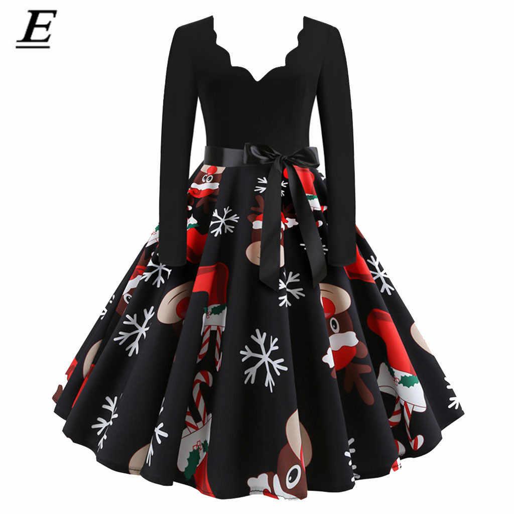 Kadın kış uzun kollu Vintage noel elbise siyah kırmızı baskı V boyun seksi noel parti elbise elbise artı boyutu 3XL zarif Vestido