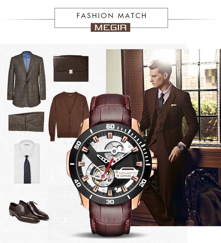 H8cf34feff3a74482ab7e469cbae96c75Z MEGIR Men Mechanical Wristwatches Leather Strap Automatic Mechanical