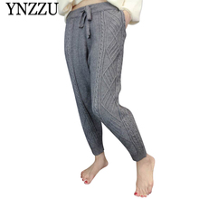 2019 Autumn Winter Solid Women Knitted Pants Loose Casual Drawstring Grey Girl trousers Black streetwear Harem YNZZU YB374
