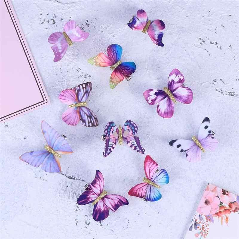 10 pçs grampo de cabelo tridimensional borboleta bonito bobby pin para bebê meninas crianças grampo de cabelo adorável grampos de cabelo barrette