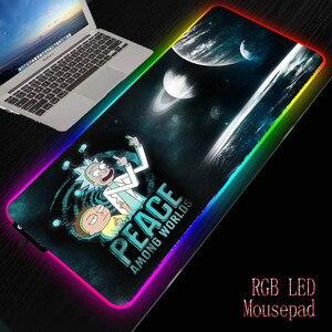 MRGBEST Anime Morty RGB Gaming duża podkładka pod mysz LED oświetlenie klawiatura USB kolorowe podkładka na biurko Rick podkładka pod mysz na pulpit laptopa