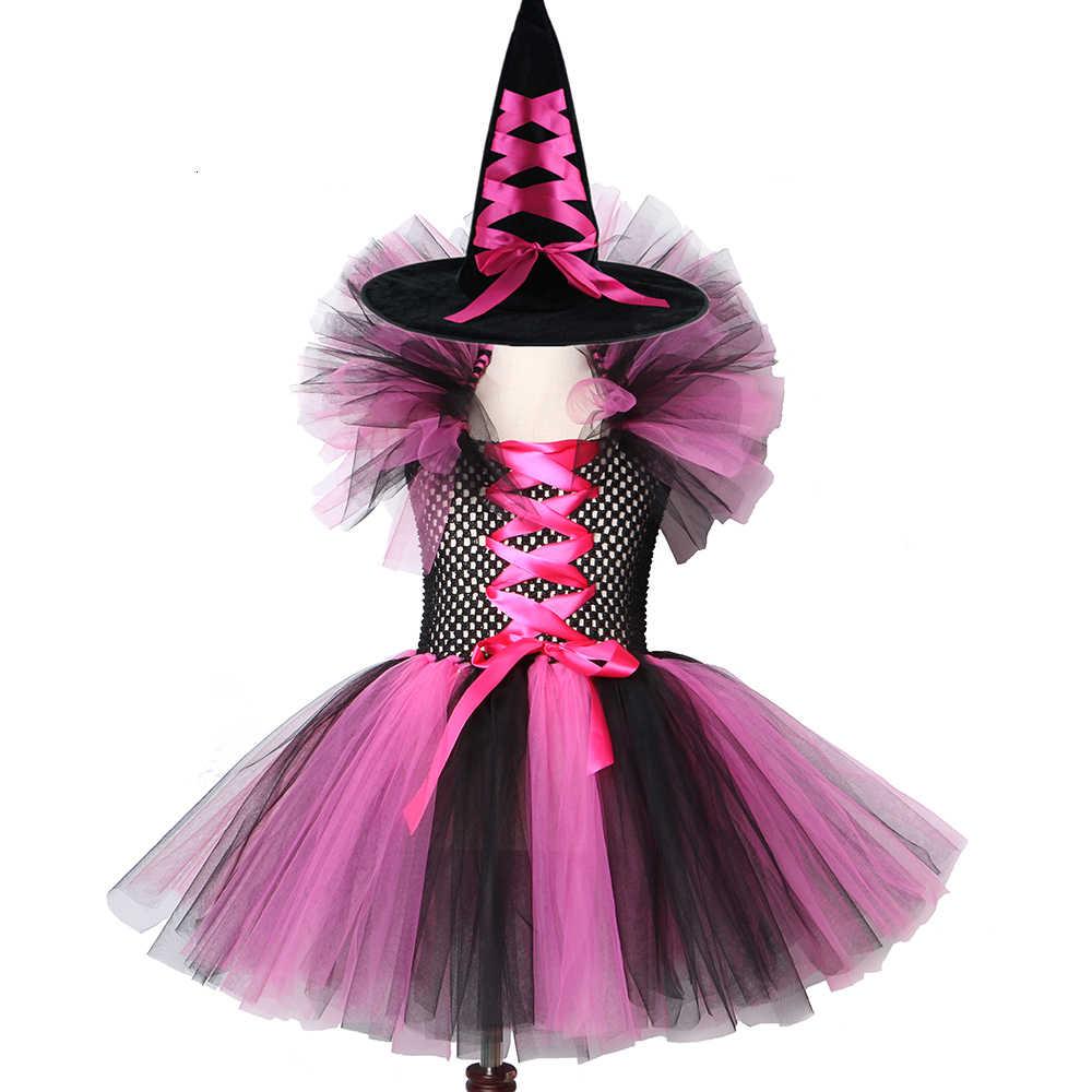 Vestido Tutú De Tul Disfraz De Halloween Para Niñas Con Un Sombrero Juego De 2 Piezas Para Niños 2 12y Linda Ropa De Fiesta De Baile Desgaste